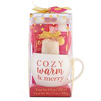 Simple Pleasures Shower Gel, Body Lotion, Bath Salt, Bath Pouf & Ceramic Mug Gift Set