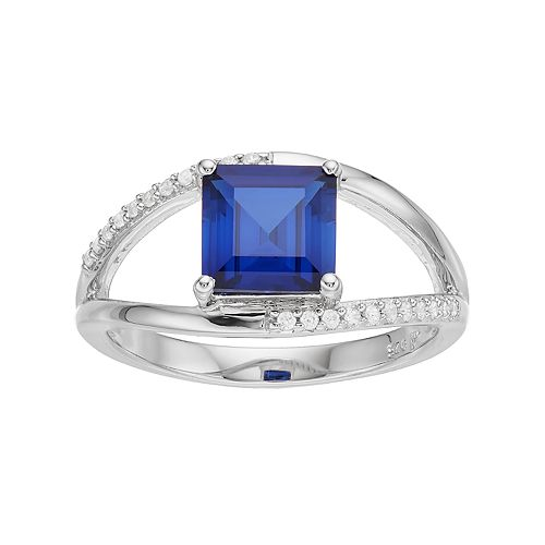 Sterling Silver Lab-Created Sapphire & White Zircon Openwork Ring