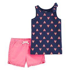 Girls 4-8 Carter's Heart Tank Top & Ruffled Shorts Set
