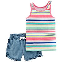 Girls 4-8 Carter's Striped Tank Top & Ruffled Chambray Shorts