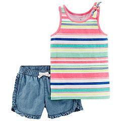 Girls 4-8 Carter's Striped Tank Top & Ruffled Chambray Shorts