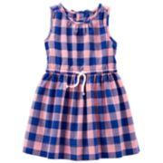 Girls 4-8 Carter's Blue & Peach Plaid Pattern Dress