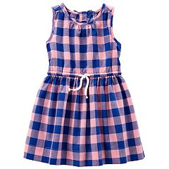 Girls 4-8 Carter's Blue & Peach Plaid Pattern Dress