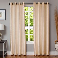 Softline 1-Panel Morena Textured Window Curtain. Cream Spa Silver White