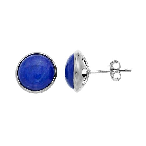 Sterling Silver Lapis Lazuli Button Stud Earrings