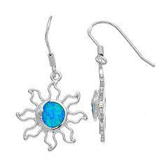 Sterling Silver Lab-Created Blue Opal Sun & Moon Drop Earrings