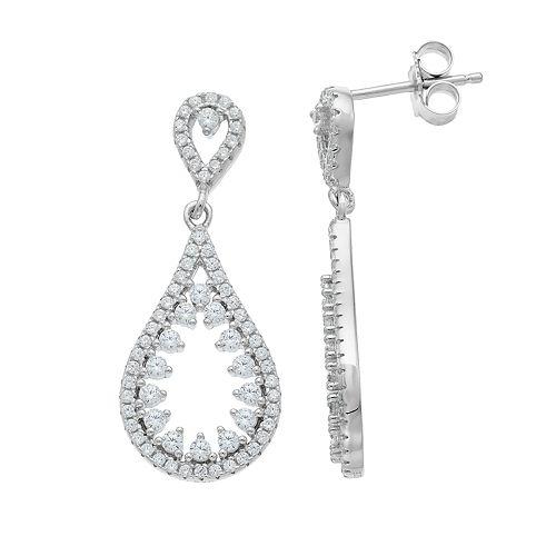 Sterling Silver Cubic Zirconia Openwork Teardrop Earrings