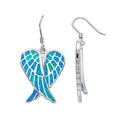 Sterling Silver Lab-Created Blue Opal Angel Wing Drop Earrings