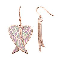 14k Rose Gold Over Silver Lab-Created Pink Opal Angel Wing Drop Earrings