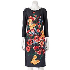 Women's Indication Scuba Floral Sheath Dress