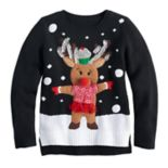 Girls 7-16 It's Our Time Reindeer Applique Light-Up Ugly Christmas Sweater
