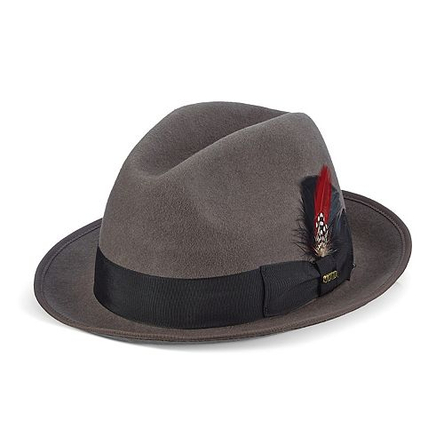 Men's Scala Wool Felt Fedora With Feather by Scala