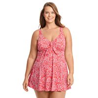 Plus Size Upstream Thigh Minimizer Bow-Front Swimdress