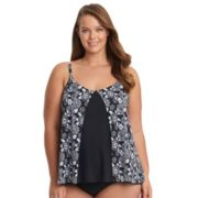 Plus Size Upstream Flounce Underwire Tankini Top