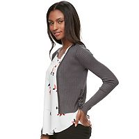 Juniors' Candie's® Lace Up Open-Front Cardigan