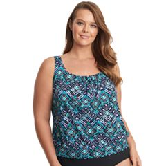 Plus Size Upstream Blouson Tankini Top