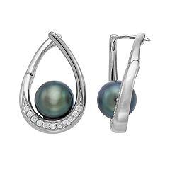 14k White Gold Tahitian Cultured Pearl & 1/4 Carat T.W. Diamond Teardrop Earrings