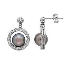 14k White Gold Tahitian Cultured Pearl & 1/3 Carat T.W. Diamond Circle Drop Earrings