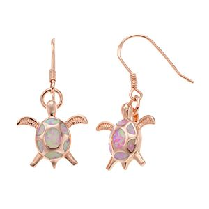 14k Rose Gold Over Silver Lab-Created Pink Opal Turtle Drop Earrings