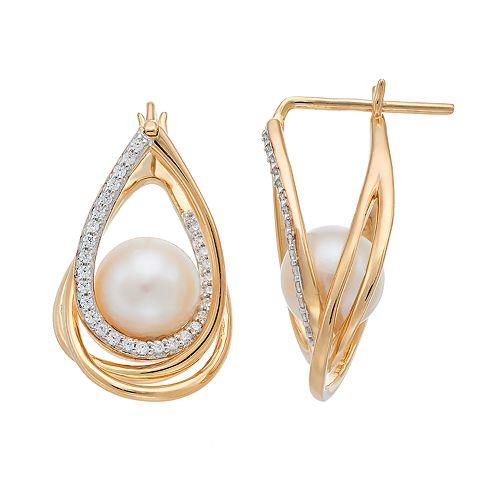 14k Gold Freshwater Cultured Pearl & 1/3 Carat T.W. Diamond Teardrop Earrings