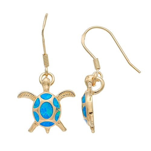 14k Gold Over Silver Lab-Created Blue Opal Turtle Drop Earrings
