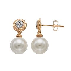 14k Gold Freshwater Cultured Pearl &  Diamond Accent Drop Earrings