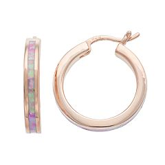 14k Rose Gold Over Silver Lab-Created Pink Opal Hoop Earrings