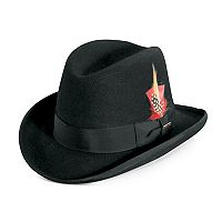 Men's Stacy Adams Wool Felt Homburg Hat With Feather