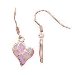 14k Rose Gold Over Silver Lab-Created Pink Opal Heart Drop Earrings