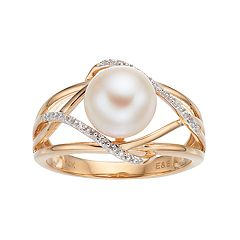 14k Gold Freshwater Cultured Pearl & Diamond Accent Crisscross Ring