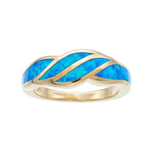 14k Gold Over Silver Lab-Created Blue Opal Wave Ring