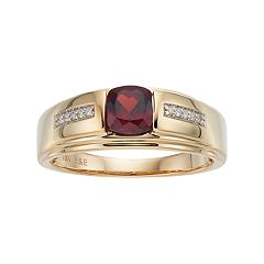 Men's 10k Gold Lab-Created Garnet & Diamond Accent Ring