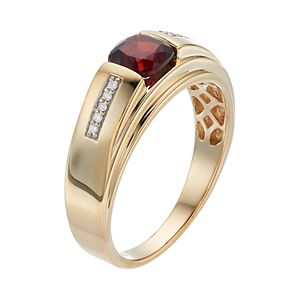 Men's 10k Gold Lab-Created Garnet & Diamond Accent Ring