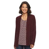 Women's Croft & Barrow® Ribbed Sleeve Cardigan