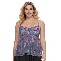 Plus Size Croft & Barrow® Mesh Flyaway Tankini Top