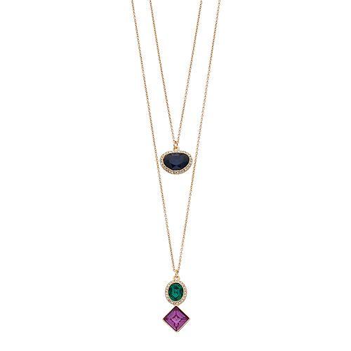 Chaps Geometric Stone Double Pendant Necklace