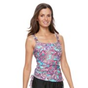 Women's Croft & Barrow® D-Cup Drawstring Tankini Top