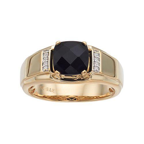 Men's 10k Gold Onyx & Diamond Accent Ring