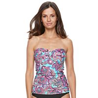Women's Croft & Barrow® Paisley Twist-Front Bandeaukini Top
