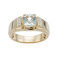 Men's 10k Gold Green Quartz & Diamond Accent Ring