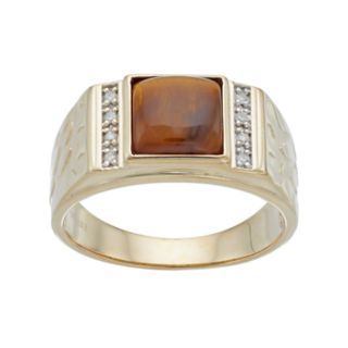 Men's 10k Tiger's-Eye & Diamond Accent Ring