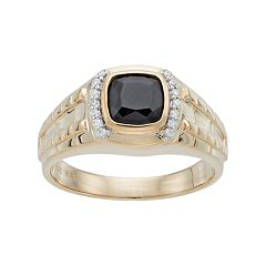 Men's 10k Gold Onyx & 1/8 Carat T.W. Diamond Ring