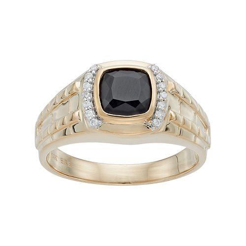 Men's 10k Gold Onyx & 1/8 Carat T.W. Diamond Ring