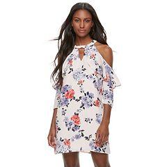 Juniors' Candie's® Print Cold-Shoulder Halter Dress