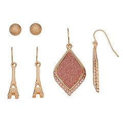 Mudd® Eiffel Tower & Glittery Oblong Nickel Free Earring Set