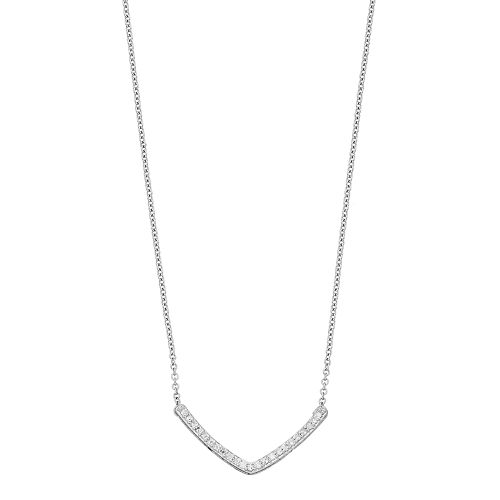 Sterling Silver 1/6 Carat T.W. Diamond Chevron Necklace