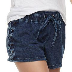Juniors' Tie Waist Lace-Up Shortie Shorts