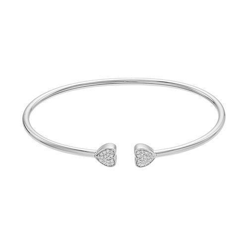 Sterling Silver 1/6 Carat T.W. Diamond Heart Bangle Bracelet