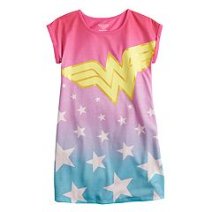Girls 4-10 DC Comics Wonder Woman Stars Dorm Nightgown