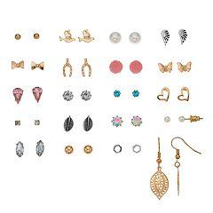 Mudd® Butterfly, Heart, Wing & Wishbone Nickel Free Earring Set